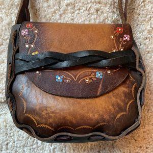 Handmade Leather Weave Floral Boho Purse